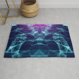 Polygonal space low poly background with triangles Rug