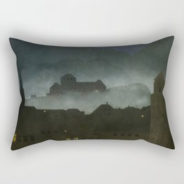 small town with castle Rectangular Pillow