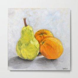 Still life - Pear and Oranges Metal Print