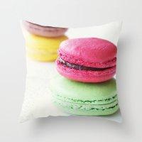 macaron Throw Pillows featuring Macaron by Natalia Valle