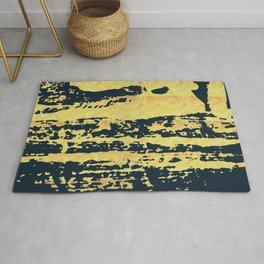 Conquer: a bold, pretty abstract piece in gold and midnight blue Rug