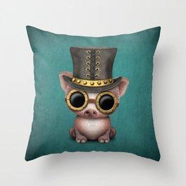 Steampunk Baby Pig Throw Pillow