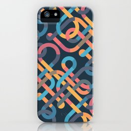 Tangled Looping Multi-Colored Ribbons iPhone Case