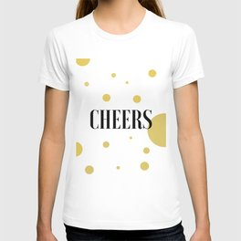 POP FIZZ CLINK Black And Gold Party Decorations Champagne Gift Champagne Quotes Cheers Sign Printabl T-shirt