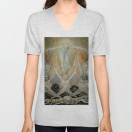 """William Blake """"David Delivered out of Many Waters"""" Unisex V-Neck"""