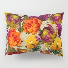 Yellow orange flowers light background large pattern  Pillow Sham