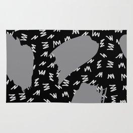 Black White And Grey Retro 80s Zig Zag Pattern Rug