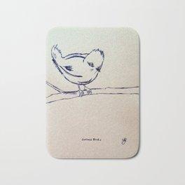 Curious Bird Ink Drawing Bath Mat