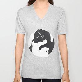 Yin Yang Dog Cat Couple Matching Cartoon Shirt Men Womens Unisex V-Neck