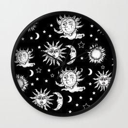 Sun and Moon Celestial Pattern Wall Clock