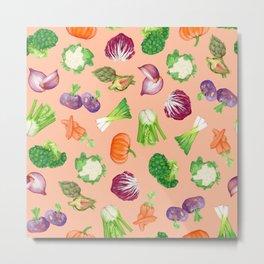 Peach pink veggies illustration pattern | Vegetables pattern Metal Print