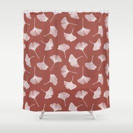 Ginkgo Biloba Pattern | Terracota Background Shower Curtain
