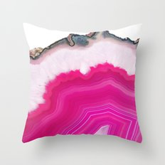 Pink Agate Slice Throw Pillow