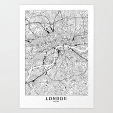 London White Map Art Print