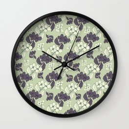 White and blue flowers Wall Clock