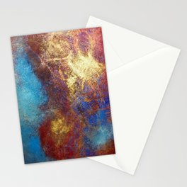 Red, Blue And Gold Modern Abstract Art Painting Stationery Cards