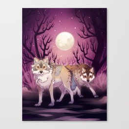 Full Moon - digital drawing of wolves in a forest at night Canvas Print
