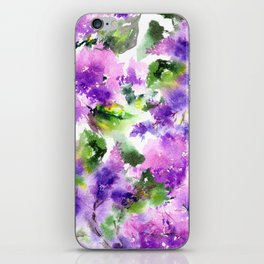 Lilac flowers. Watercolor lilac blossom. Violet florals. iPhone Skin