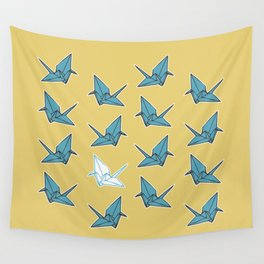 PAPER CRANES BABY BLUE AND YELLOW Wall Tapestry