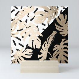 Simply Tropical Midnight Black Memphis Palm Leaves Mini Art Print