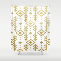 nordic Shower Curtains featuring GOLD NORDIC by Nika