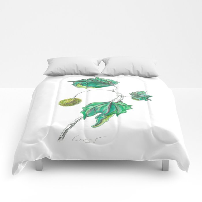 Sycamore 01 Botanical Flower Comforters
