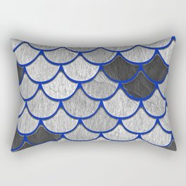 Dragon Scales with Blue Outline Rectangular Pillow