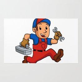 handyman Running With A Toolbox Rug