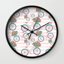 Bicycle with Flowers Painting Wall Clock