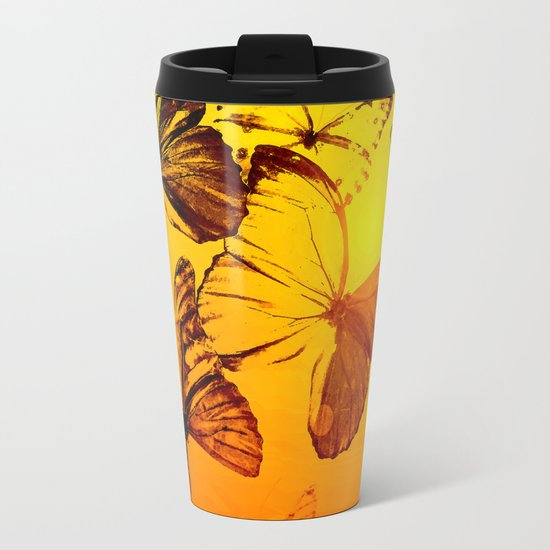 Fly fly butterfly! - Butterflies on a orange background with sunlight #society6 #buyart Metal Travel Mug