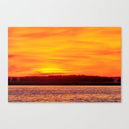 Fiery sunset on the Pike lake Canvas Print