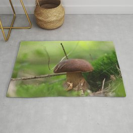 Mushroom time in the forest Rug