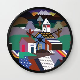 Andean Village Patchwork Tapestry Kilim Wall Clock