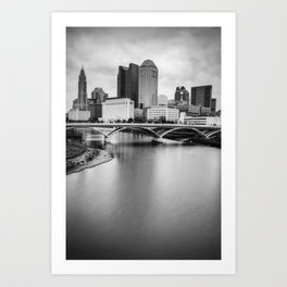 Columbus Skyline Contrast - Black and White Art Print