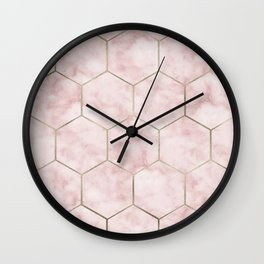 Cloudy pink marble hexagons Wall Clock