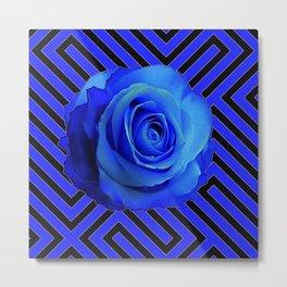 CONTEMPORARY BLUE ROSE  PATTERN ART GARDEN Metal Print