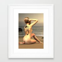 erotic Framed Art Prints featuring erotic tattoo by flamenco72