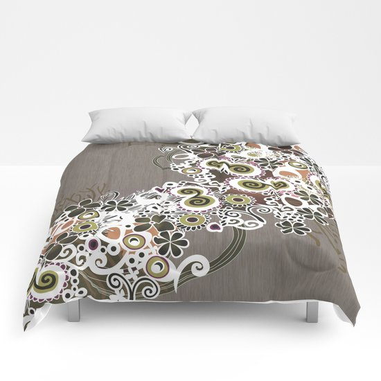 Diagonal flower – brown and olive green fiber Comforters