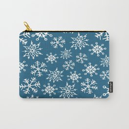 Snowflakes Pattern (Dark Blue) Carry-All Pouch