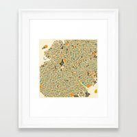 brooklyn Framed Art Prints featuring Brooklyn Map by Jazzberry Blue