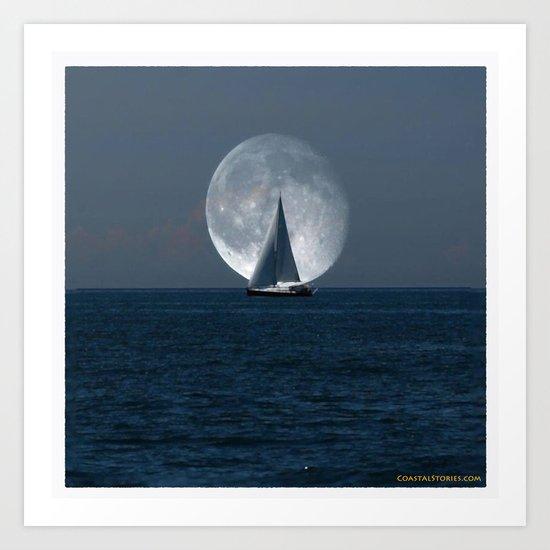 Sailing with a Romance Moon Art Print