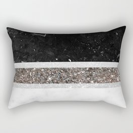 Black and White Marble Silver Glitter Stripe Glam #1 #minimal #decor #art #society6 Rectangular Pillow