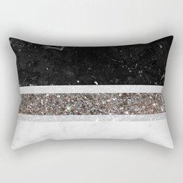 Black and White Marble Silver Glitter Stripe Glam #1 #minimal #decor #art #society6 Rectangular Pillow