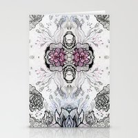 duvet cover Stationery Cards featuring Flower Duvet Cover by Tintedfaint