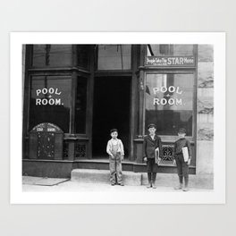 Newsies Outside A Pool Room - St. Louis - 1910 Art Print