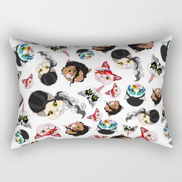 Pop Cats - Pattern on White Rectangular Pillow