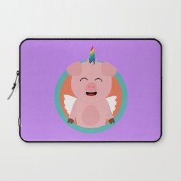 Unicorn Angel Pig in circle Laptop Sleeve