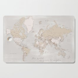 """The world is yours to explore, rustic world map with cities, """"Lucille"""" Cutting Board"""