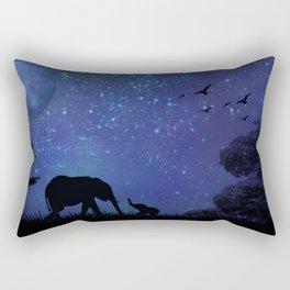 Elephants at Play (Blue) Rectangular Pillow