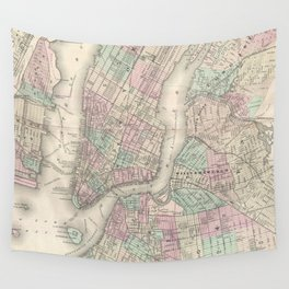Vintage Map of NYC and Brooklyn (1865) Wall Tapestry